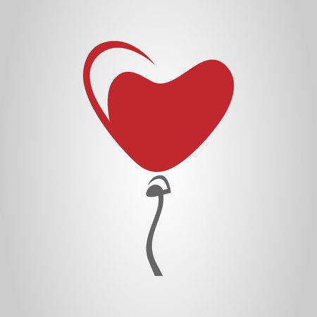 Heart-shaped balloon symbol, icon 向量圖像