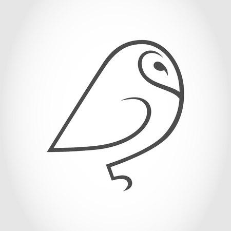 Barn owl symbol, icon outline 向量圖像