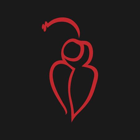 Cherry on lips symbol, icon on black background.
