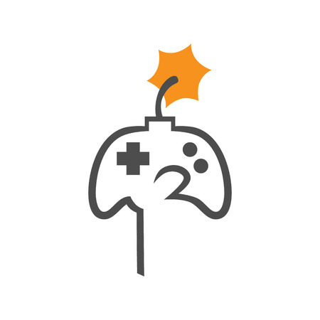 Hand holding game controller with an ignited fuse on white backdrop. Hardcore gaming concept