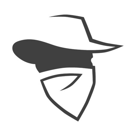Cowboy outlaw head symbol on white backdrop