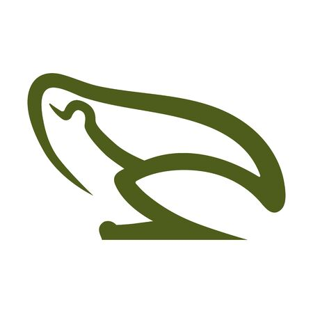 Frog symbol side view on white backdrop. Design element 向量圖像