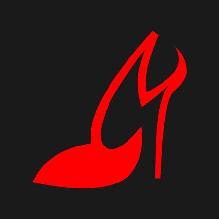 High heel shoe symbol on black backdrop