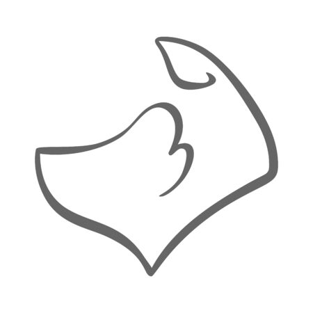 Dog head side view symbol on white backdrop