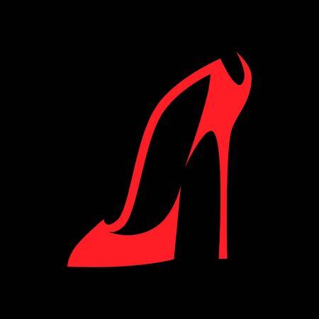 Simbolo di scarpe con tacco alto su sfondo nero
