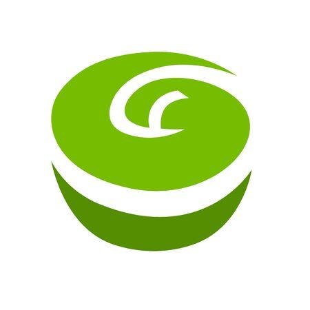 Green apple symbol on white backdrop. Design element