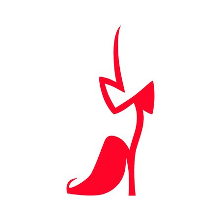 High heel bowtie back shoe symbol on white backdrop