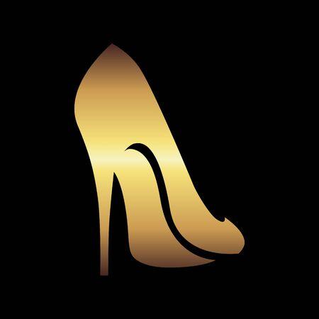 Symbole abstrait de chaussure à talons hauts en or sur fond noir