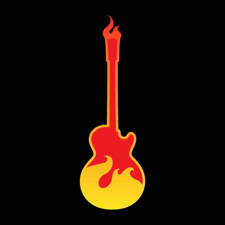 Electric guitar in flames symbol on black backdrop Illusztráció