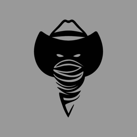 Cowboy outlaw head symbol on gray backdrop 向量圖像