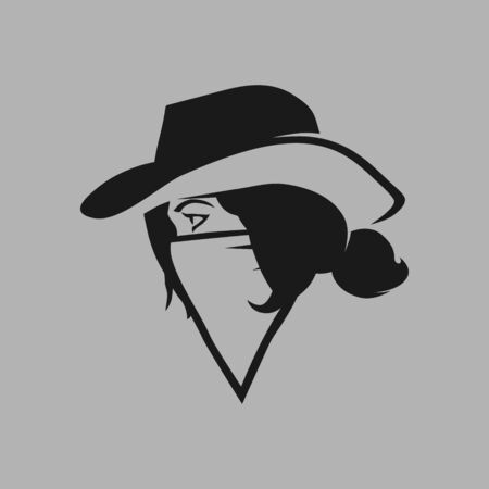 Cowgirl outlaw side view portrait symbol on gray backdrop. Design element