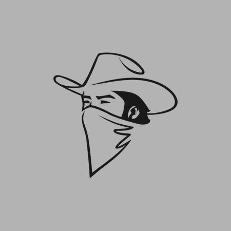 Cowboy outlaw portrait symbol on gray backdrop. Design element