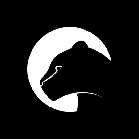 Black panther symbol. White symbol on black backdrop. Design element