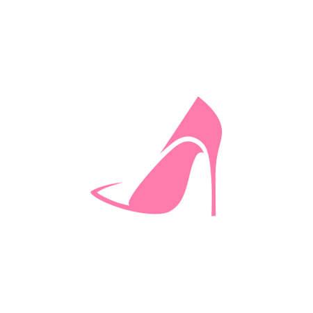 Pink high heel shoe symbol on white backdrop. Design element