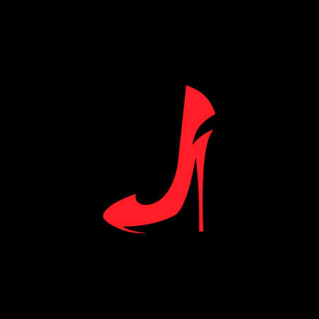 Red high heel shoe symbol on black backdrop. Design element