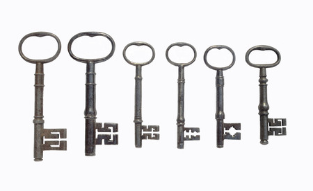 Six Antique Door Keys on white background Stock Photo - 59497784 - Six Antique Door Keys On White Background Stock Photo, Picture And