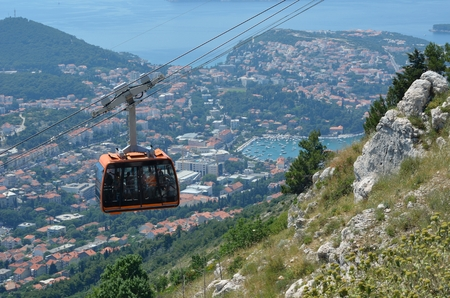 srd: Dubrovnik Cable Car close to the top of mount Srd with Lapad and Gruz bay in background. Stock Photo
