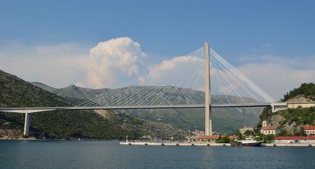 dockside: Tudjman Bridge Dubrovnik Croatia Stock Photo