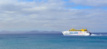Canary Island Ferry Sails Between Playa Blanca Lanzarote and Corralejo Fuerteventura. Editorial
