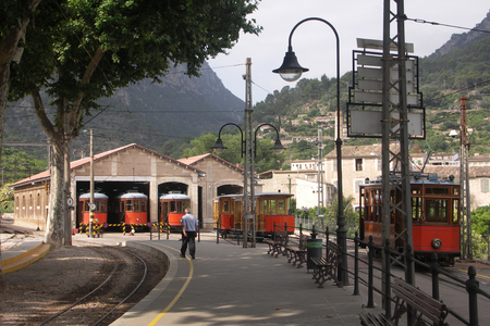 sheds: Trams in Sheds Soller Mallorca Spain