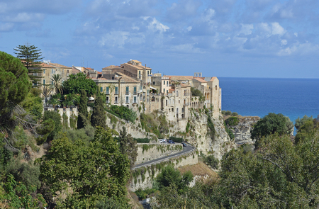 out of town: Tropea Southern Italian Town where the building seem to come straight out of the cliffs. Stock Photo