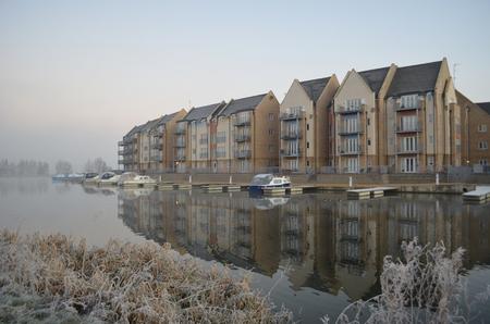 cambridgeshire: Marina Reflections modern build Apartments with reflection in Marina, Winter.
