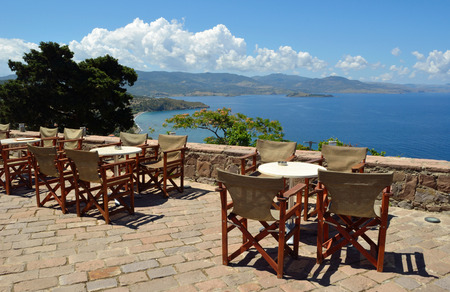 taverna: Taverna at the top of the hill provides customers with a welcome drink after thr walk up the hill and a spectacular view. Stock Photo
