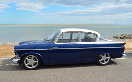 Classic Blue and White Humber Sceptre on Felixstowe seafront in vintage car rally.