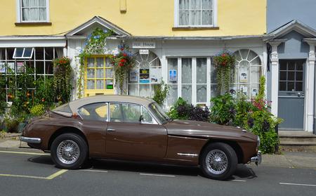 woodbridge: Classic Jensen car parked in the historic market square of Woodbridge Suffolk.