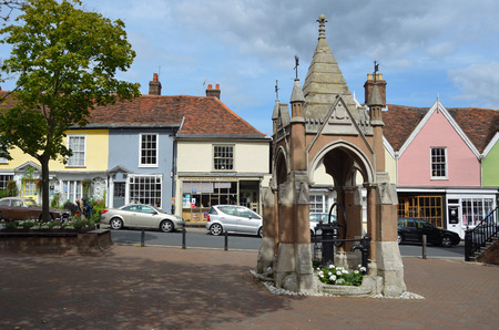 woodbridge: Pump and market square in the town of Woodbridge Suffolk.