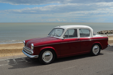 minx: Classic Hillman Minx Motorcar in vintage car rally on Felixstowe seafront. Editorial