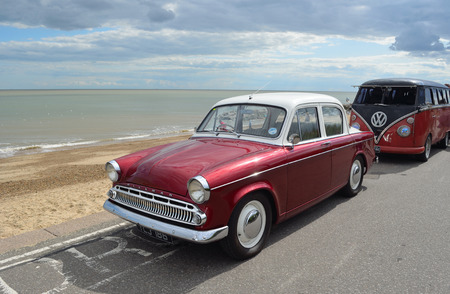 felixstowe: Classic Hillman car in rally on Felixstowe seafront.