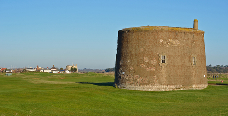 felixstowe: The two Martello towers at Felixstowe Ferry Suffolk Editorial