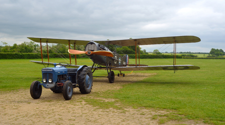 shuttleworth: Bristol F2B Fighter ready for towing into hanger.
