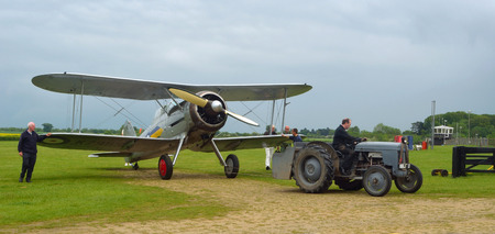 Gloster Gladiator being towed to hanger. Editorial