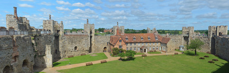 Framlingham castle walls and poorhouse. Editorial