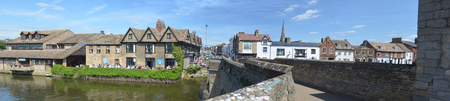 old packhorse bridge: The river side at St Ives Cambridgeshire.