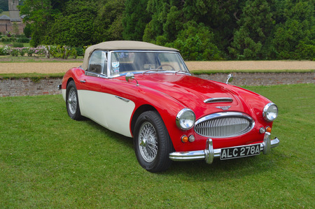 Classic Austin Healey 3000 MkII in a vintage car show. Editorial