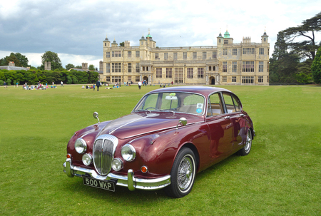 daimler: Classic Red Daimler 250 V8 on show at Audley End House