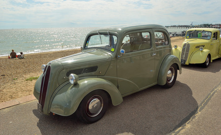 felixstowe: Classic light brown Ford Popular on show at Felixstowe seafront. Editorial