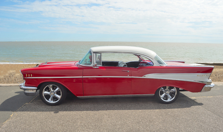 felixstowe: Classic Red & White Chevrolet Belair on show on Felixstowe seafront. Editorial
