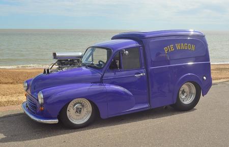 felixstowe: Classic Morris Minor Van made into a Hotrod on show at Felixstowe seafront.