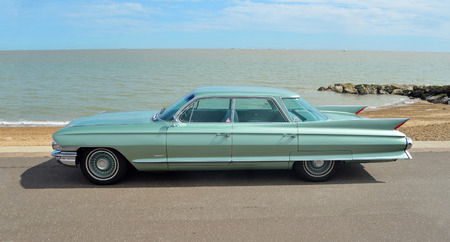 Classic Cadillac Sedan de Ville motorcar on show on Felixstowe seafront. Editorial