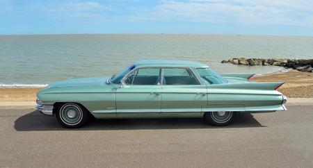 felixstowe: Classic Cadillac Sedan de Ville motorcar on show on Felixstowe seafront. Editorial