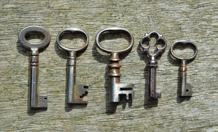 Five very small Antique  pipe Keys
