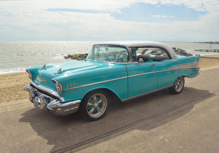 Classic Light Blue Chevrolet Belair on show on Felixstowe seafront.