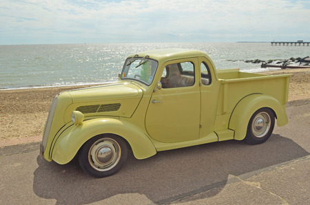 felixstowe: Classic Light Brown Ford pickup truck on Felixstowe seafront. Editorial