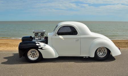 White and Black Hotrod motorcar Editorial