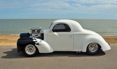 White and Black Hotrod motorcar Editorial
