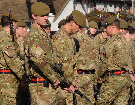 fatigues: Troops of the Royal Anglian Regiment at St Neots. Editorial
